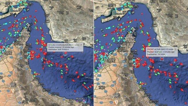 محل انفجار صبح امروز 2 نفتکش در دریای عمان، عکس