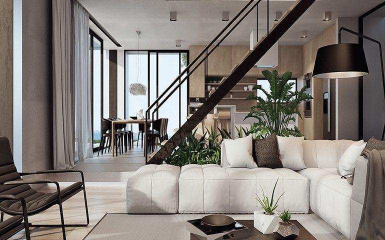 طراحی اتاق خواب و اتاق نشیمن آپارتمان